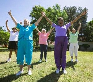 May 2004 --- Senior Women Exercising --- Image by © Royalty-Free/Corbis